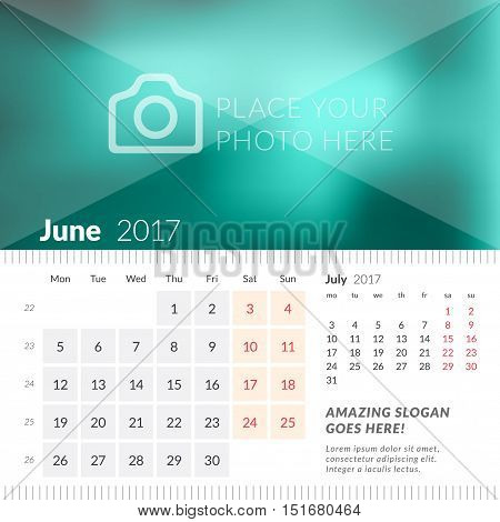 June 2017. Desk Calendar For 2017 Year. Week Starts Monday. 2 Months On Page. Vector Design Print Te