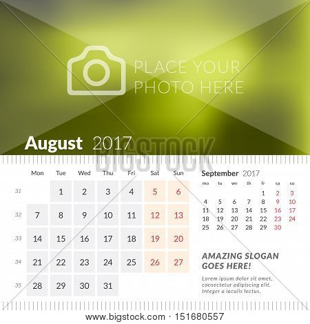 August 2017. Desk Calendar For 2017 Year. Week Starts Monday. 2 Months On Page. Vector Design Print