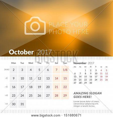 October 2017. Desk Calendar For 2017 Year. Week Starts Monday. 2 Months On Page. Vector Design Print