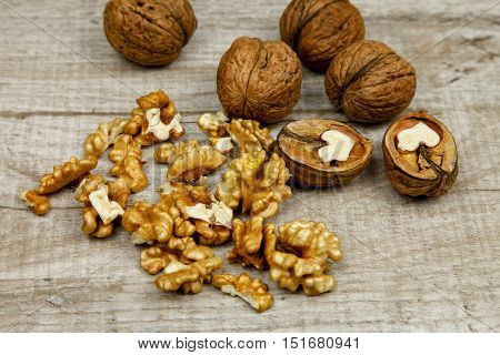 Whole fresh nuts and kernels on the table
