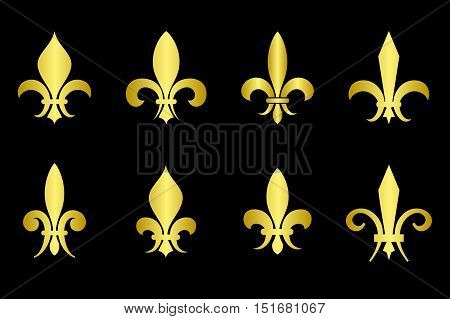 Golden fleur de lis set black background. Gold heraldic emblem illustration
