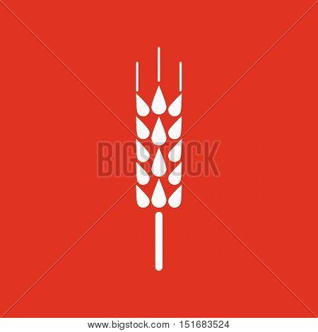 The spica icon. Wheat symbol. Flat Vector illustration. Button Set