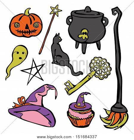 Halloween elements: witch hat, broom, scary pumpkin, ghost, old key, witches cauldron, black cat, halloween candy, cupcake. Isolated vector objects on white background.