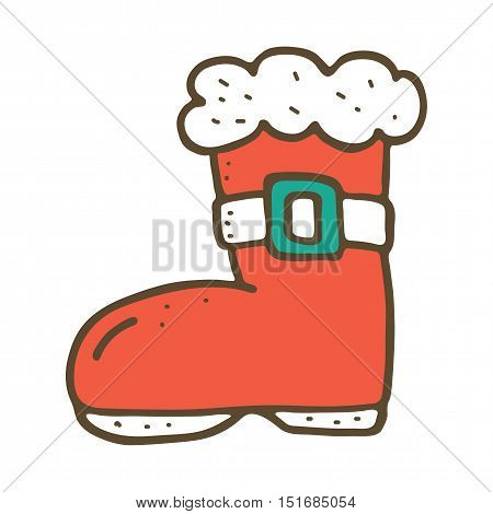 Santa boot on white bacground. Vector illustration