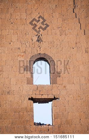 Swastika mark on a wall in Ani Turkey. Ani used to be the capital of the Bagratid Armenian kingdom between 961 and 1045.