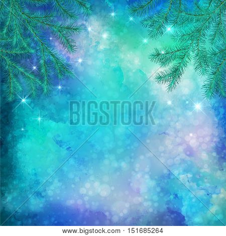 Christmas winter vector watercolor background with tree branches, subtle grunge texture and stars