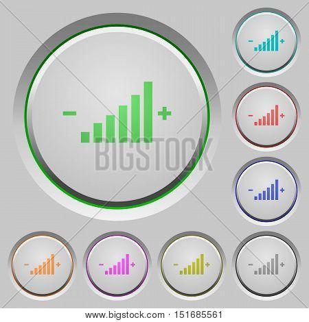 Set of color control element sunk push buttons.