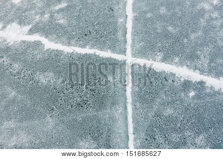 Crack Cross On The Blue Ice Of Lake Baikal
