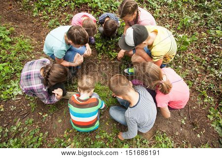 A group of children who are considering something carefully, sitting in a circle on the background of nature