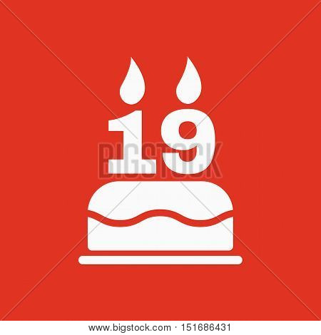 The birthday cake with candles in the form of number 19 icon. Birthday symbol. Flat Vector illustration