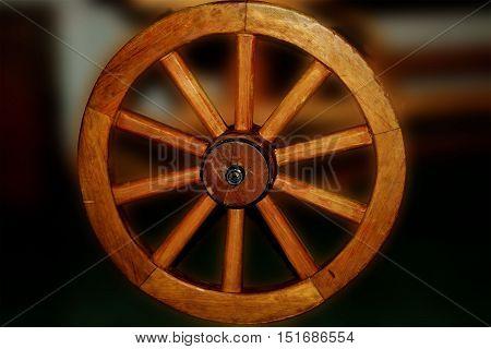 wheel, round, wooden, wagon wheel, old, circle, one wheel