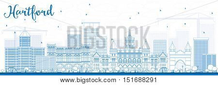 Outline Hartford Skyline with Blue Buildings. Vector Illustration. Business Travel and Tourism Concept with Historic Architecture. Image for Presentation Banner Placard and Web Site.