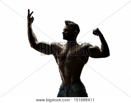 The beautiful and strong young guy, silhouette