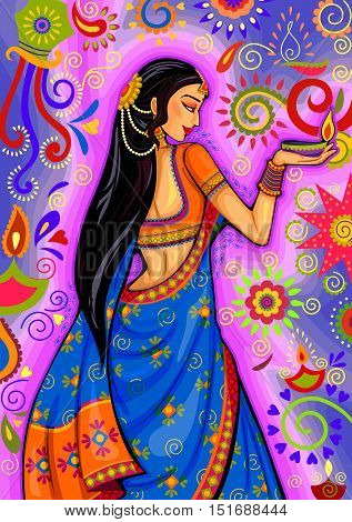 Vector design of Indian woman with diya decoration for Diwali festival celebration in India