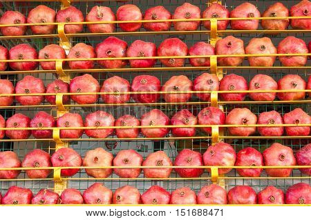 pomegranate fruit background. Citrus group. Market place in Turkey