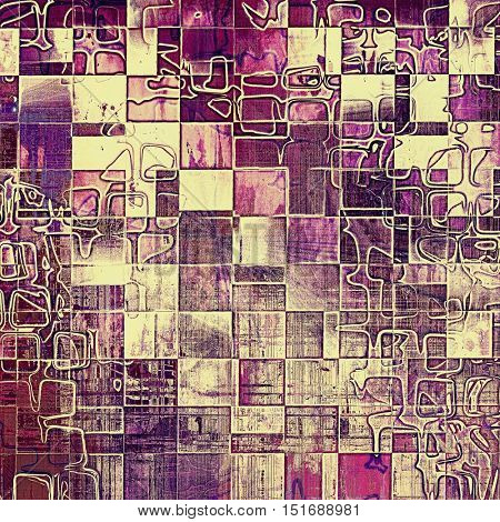 Geometric vintage decorative texture with grunge design elements and different color patterns: yellow (beige); brown; gray; purple (violet); pink