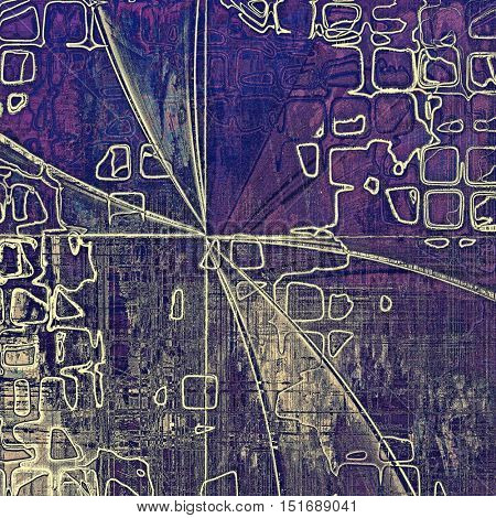 Geometric grunge texture or background with retro design elements and different color patterns: yellow (beige); gray; blue; purple (violet); pink