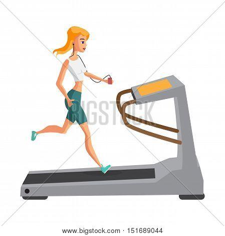 Woman running on treadmill sport fitness athletics healthy lifestyle. Cartoon vector illustration flat design