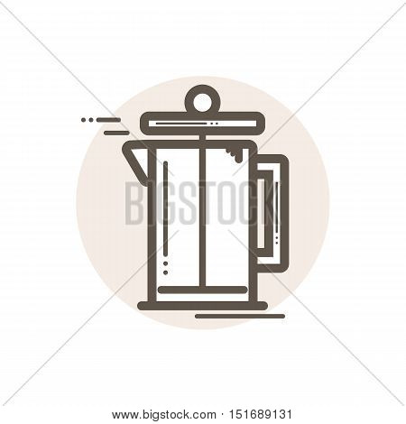 Vector icon of french press. Icon is in simple lineart style without coloring. Symbol on brown circular background.