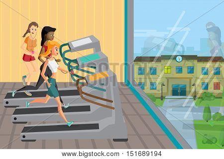 Group of young women running on treadmills in modern sport gym. Girls in club near a large window. Vector flat cartoon illustration