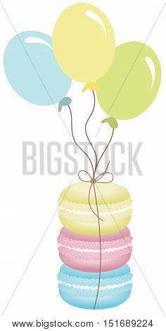 Scalable vectorial image representing a macaroons tied with balloons, isolated on white.