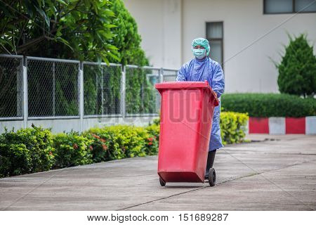Infected people into the trash Trash infections in hospitals