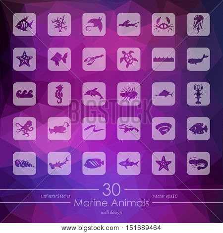 marine animals modern icons for mobile interface on blurred background