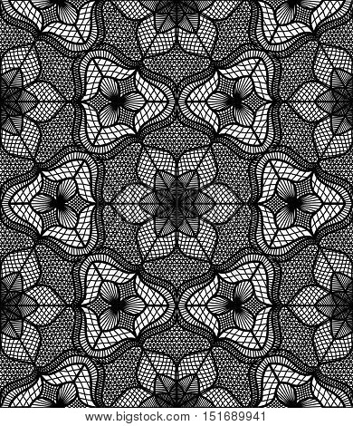 Lace pattern. Flourish vector. Seamless flower background. Intricate floral ornament. Black and white illustration. Decorative fabric print, furniture textile. Fine design. Elegant tulle element