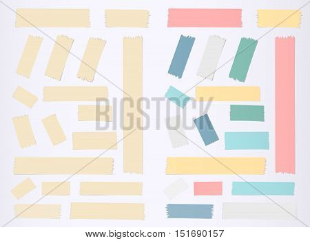 Brown, colorful horizontal and vertical masking, sticky tape pieces on grey background.