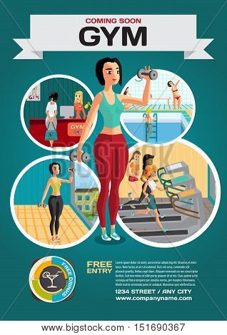 Template for a poster on the gym. Reception and gymnasium. Woman goes in for sports. Vector flat cartoon illustration