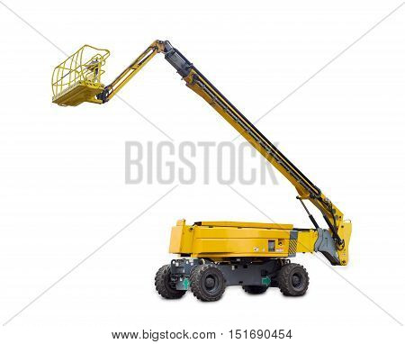 Self propelled wheeled hydraulic articulated boom lift with telescoping boom and basket on a light background