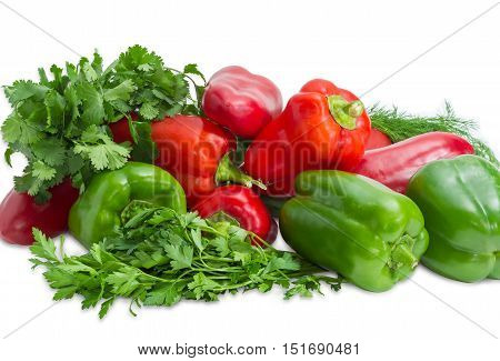 Several fresh green and red bell peppers among bundles of the parsley cilantro dill closeup on a light background