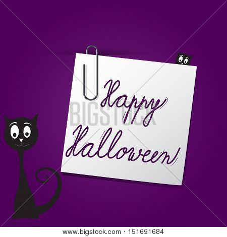 Vector Halloween card template on dark purple background. Card concept with paper paperclip and black cat.