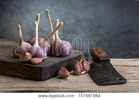 garlic on a wooden board. still life