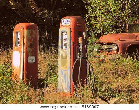 Overgrown Vintage Gas Pumps