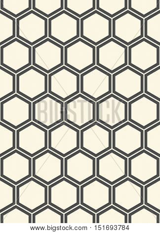 Seamless Hexagon Pattern. Vector Monochrome Minimal Background. Abstract Geometric Design