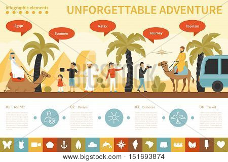 Unforgettable Adventure infographic flat vector illustration. Editable Presentation Concept