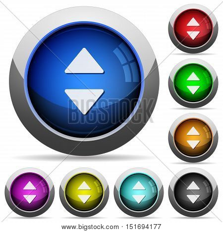 Set of round glossy vertical control arrows buttons. Arranged layer structure.