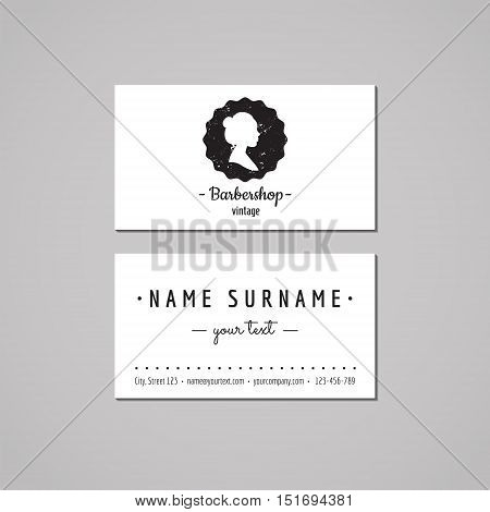 Barbershop (hair salon) business card design concept. Logo-badge with wavy long hair woman profile. Vintage hipster and retro style. Black and white.