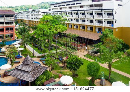 Phuket Island, Thailand. December 7, 2014: Tropical Kata SEA BREEZE RESORT