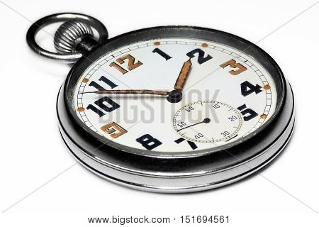 Vintage swiss pocket watch perspective left isolated on white background
