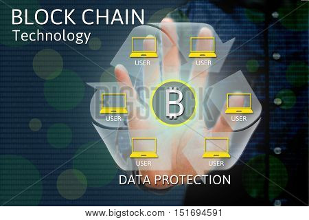 Block chain network concept and bitcoin icons double exposure of hand showing word diagram as concept.
