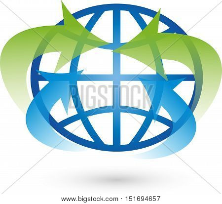 Earth and arrows, movement, globe and world globe Logo,