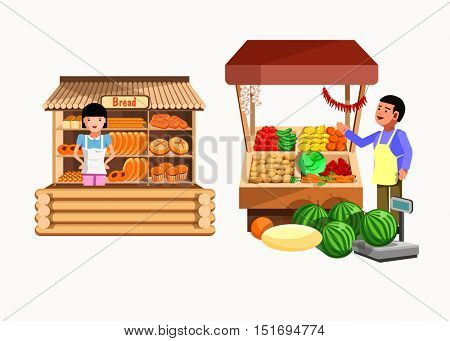 Set of sellers at the counter and stall. Collection vector shops in flat style. Kiosk with vegetables, bread products. Grocery stores illustration