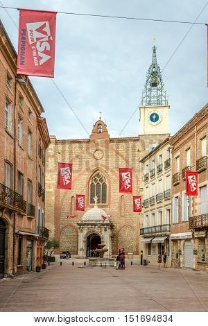 PERPIGNAN,FRANCE - AUGUST 28,2016 - Cathedral of Saint Jean Baptist in Perpignan. Perpignan is a city a commune and the capital of the Pyrenees Orientales department in south western France.