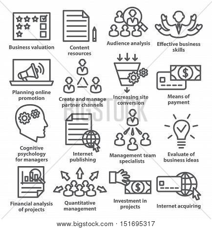Business management icons in line style on white. Pack 09.