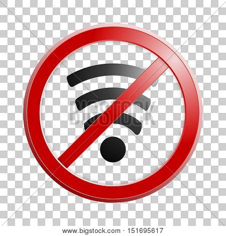Wireless network symbol for your design. Original abstract No wi-fi icon. Vector illustration. Internet banned, forbidden. Stop sign.