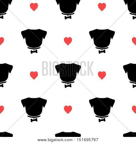 Pug silhouette with bone on the collar and pink heart seamless pattern. Good for textile and paper print, card, poster, another design. Cute funny dog love vector illustration. Pet logo.