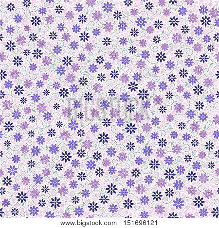 Seamless pattern with small gentle daisy flowers in pink blue light violet color on white background. Can be used for wallpaper fabric wrapping paper.