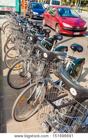 Brussels, Belgium - April 5, 2008: Parking Of Bicycles For Rent